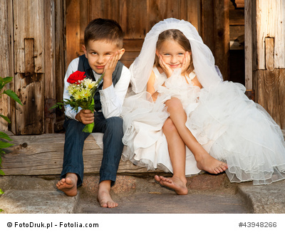 Children Love Couple After the Wedding