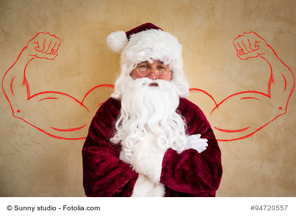 Strong Santa Claus senior man. Christmas holiday concept